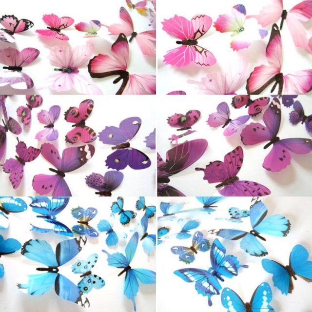 3D Rainbow Butterflies PVC Wall Stickers Set