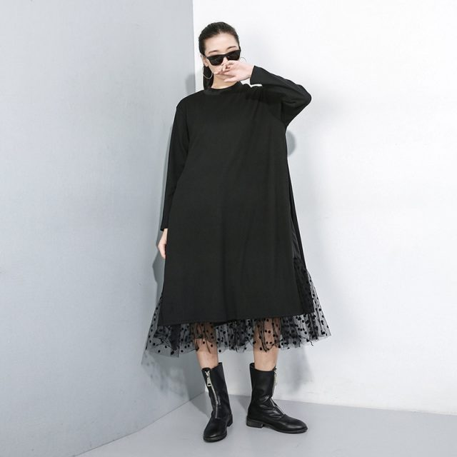 Women's Black Mesh Split Joint Dress with Stand Collar