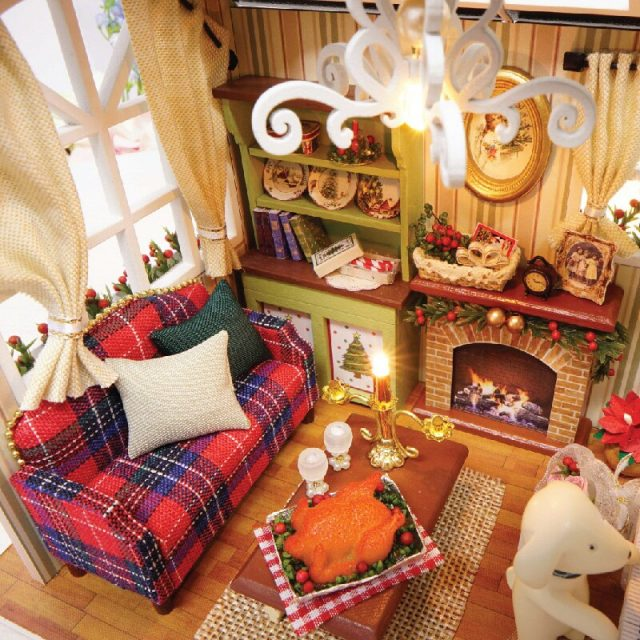 Miniature Wooden DIY Doll House with Dog