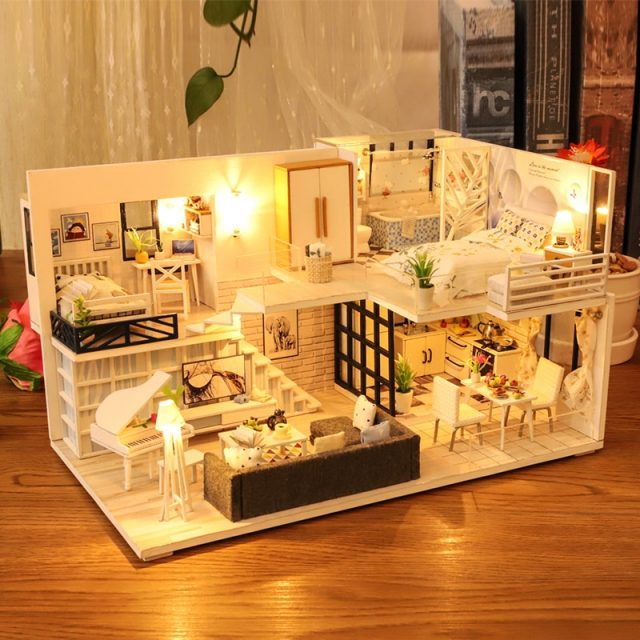 Miniature DIY Doll House with Dust Cover and Music Box Kit