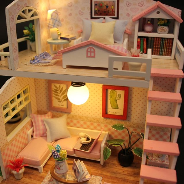 Miniature Pink Wooden DIY Doll House with Furniture
