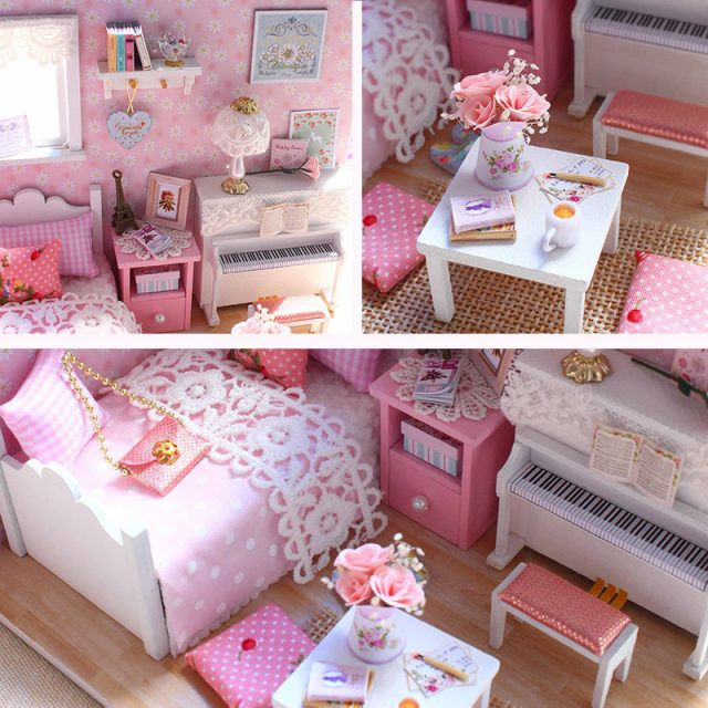 Miniature Wooden DIY Doll House with Dust Cover