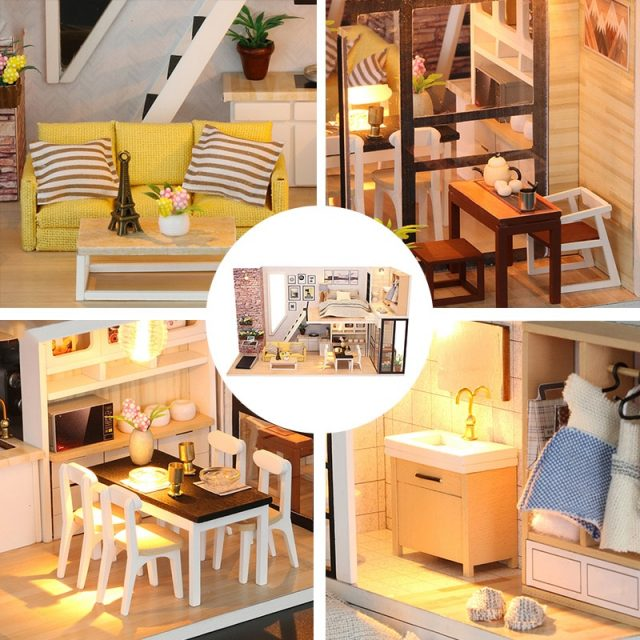 Miniature Modern Style Wooden DIY Doll House with Furniture