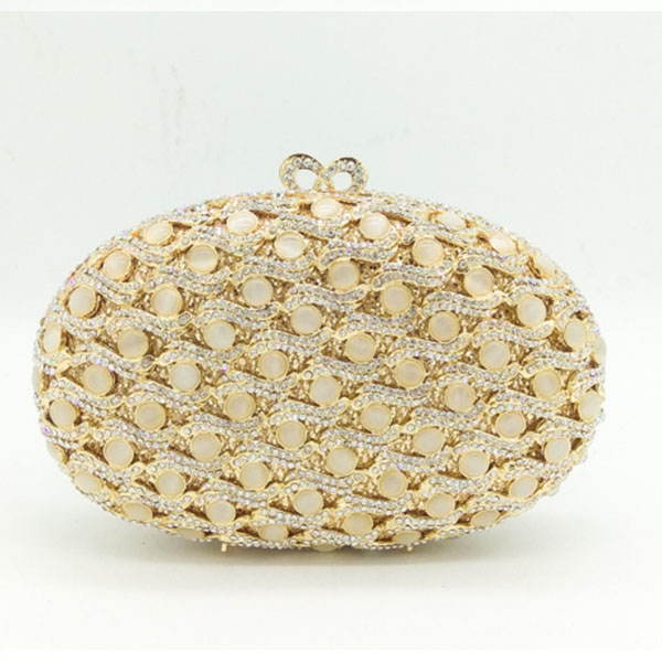 Women's Mini Evening Bag with Crystlas and Pearls